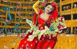 La Callas rappresentata dai colori di Dario Fo