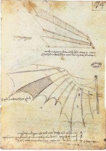 Una delle macchine volanti di Leonardo